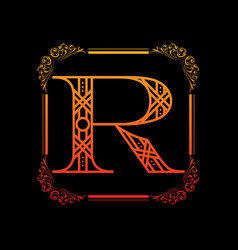 letter r with ornament vector image vector image