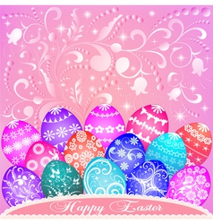 postcard at Easter eggs vector image vector image