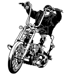 rider on chopper vector image vector image
