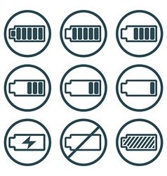 Battery charge indicator icons isolated on white vector image vector image
