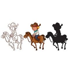 Sketches of a man riding a horse vector image