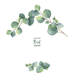 watercolor wreath with green eucalyptus vector image vector image