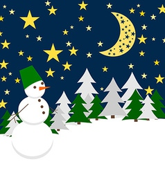 Winter night forest landscape with snowman holiday vector
