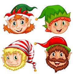 Four characters of Christmas elves vector image