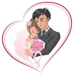 Just married bride and groom Newlyweds in frame vector image vector image