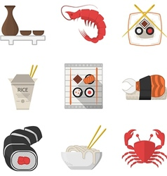 Seafood flat color icons collection vector image vector image