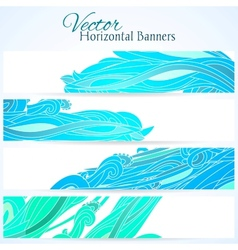 Set of three banners with water hand drawn waves vector image