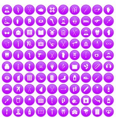100 medical care icons set purple vector
