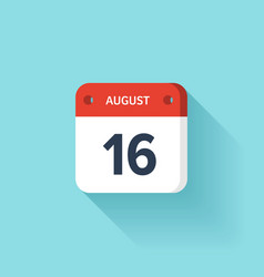 August 16 Isometric Calendar Icon With Shadow vector image vector image
