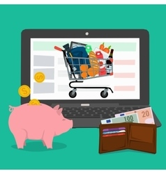 Banner - advantages of online shopping vector image