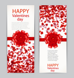 beautiful greeting cards with red bows valentine s vector image vector image