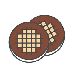 chocolate cookie isolated icon vector image