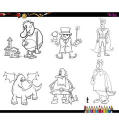 fantasy set coloring page vector image vector image