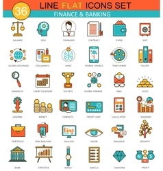 Finance and banking flat line icon set vector image