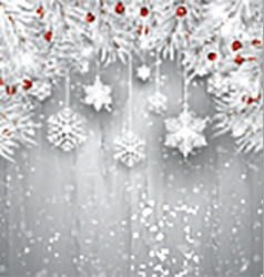 Hanging snowflakes with silver Christmas tree vector image vector image