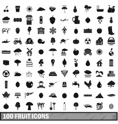 100 fruit icons set simple style vector