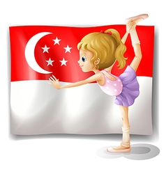 A girl dancing in front of the flag of Singapore vector image