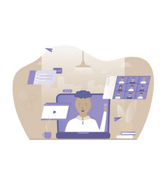 a man works at home online vector image
