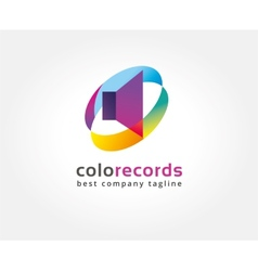 Abstract colored sound speaker logo icon concept vector