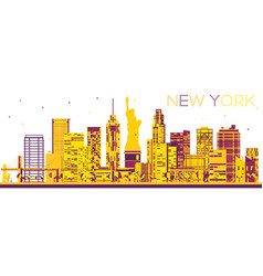 Abstract new york skyline with color buildings vector