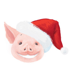 adorable christmas pig smiles cute little piglet vector image