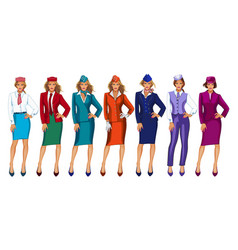 air hostess in uniform and formal vector image
