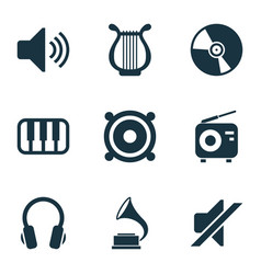 audio icons set with headphone gramophone vinyl vector image