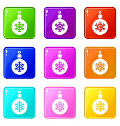 ball for the christmas tree icons 9 set vector image
