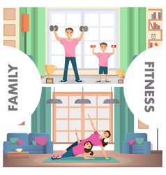 Banner set image fitness family training home vector