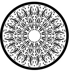 Black outline mandala ornament intricate pattern vector