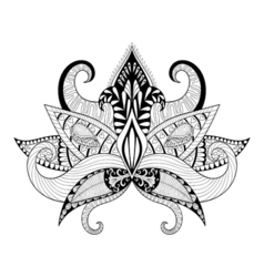 Boho ornamental lotus flower blackwork tattoo vector image