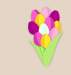 Bouquet of eleven paper cut tulip flowers on vector