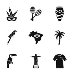 Brazil country icon set simple style vector