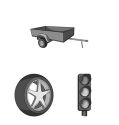 Car vehicle monochrome icons in set collection vector