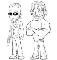 Cartoon strong secret agents character set vector