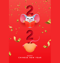 chinese new year 2020 papercut cute rat in costume vector image