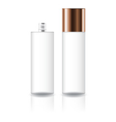 Clear cosmetic cylinder bottle with screw lid vector