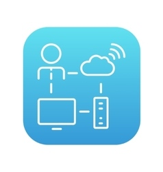 Cloud computing line icon vector image vector image