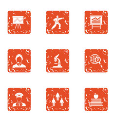 Coaching business icons set grunge style vector