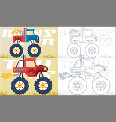 Coloring book or page with two monster truck vector