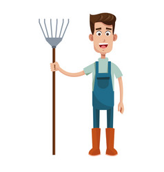 cute farmer coveralls and pitchfork vector image