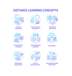 distance learning concept icons set vector image