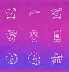 e-commerce icons line style set with mobile shop vector image