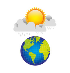 earth planet with cloud rainning and sun vector image