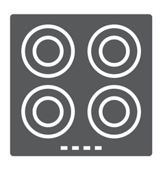 electric hot plate glyph icon kitchen and cooking vector image