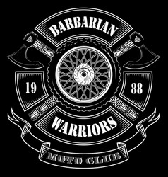 Emblem of the motorcycle club motorcycle wheel vector