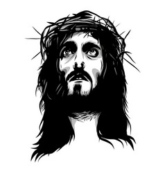 Face of jesus with crown of thorns vector