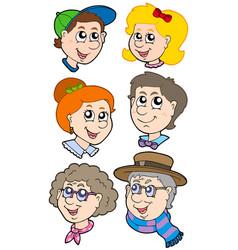 Family faces collection vector