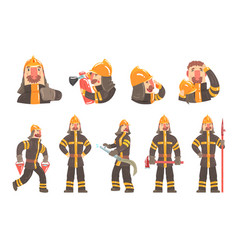 funny fireman at work using firefighting gear and vector image