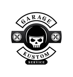 Garage custom logo with helmet on skull vector
